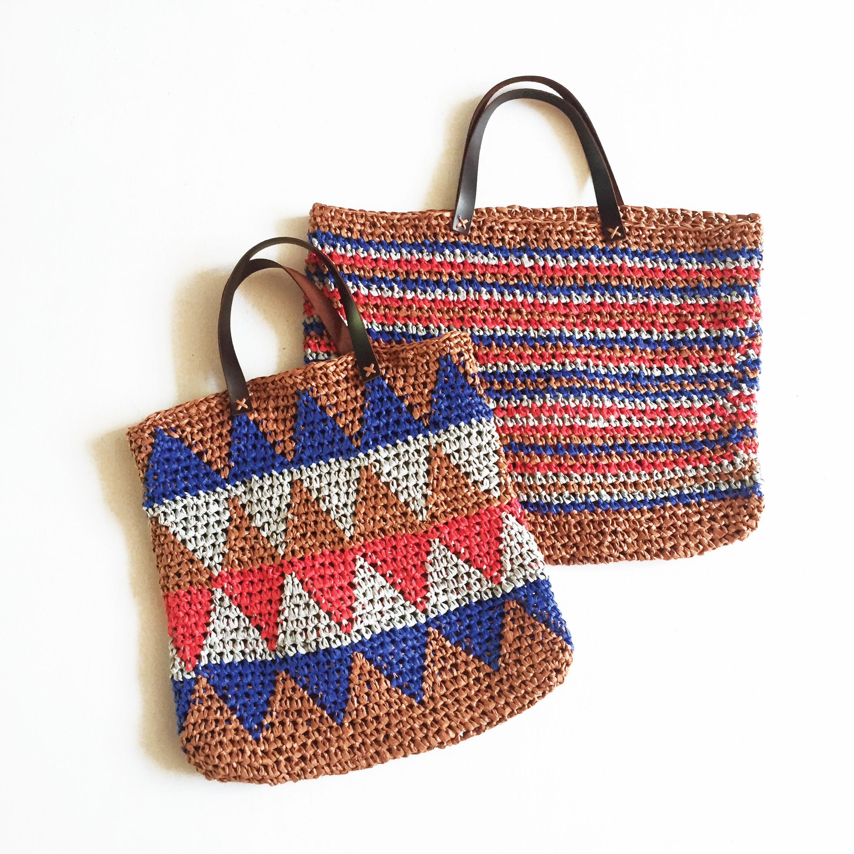 kit crochet sac multicolore jacquard ou bayadère