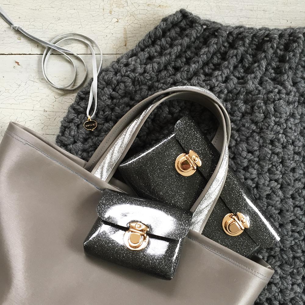 kit crochet et couture XXL sac simili nacré pochette paillette clip bijoux