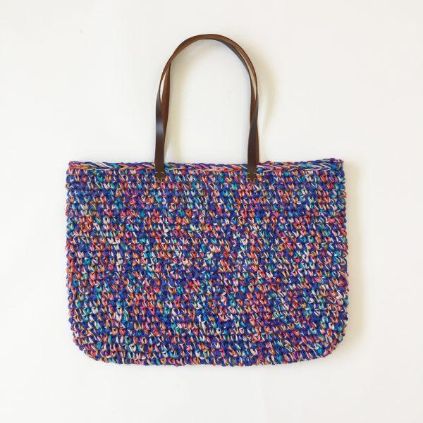 Sac panier au crochet avec anses en cuir - kit crochet facile avec tout le matériel.