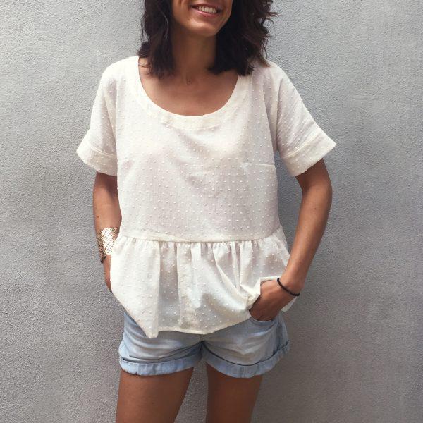 blouse avec volant en plumetis - kit couture