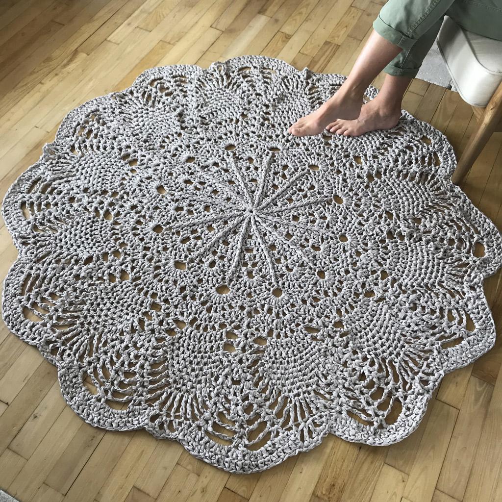 kit crochet tapis geant chouette kit